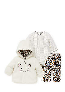 Infant Girls Leopard 3-Piece Hoodie Set