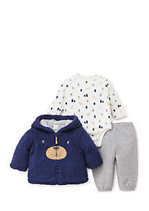 Infant Boys Puppy 3-Piece Hoodie Set