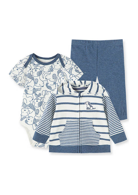 Little Me Baby Boys Puppies 3 Piece Hoodie