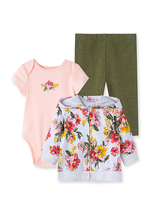 Little Me Baby Girls Floral 3-Piece Hoodie Set