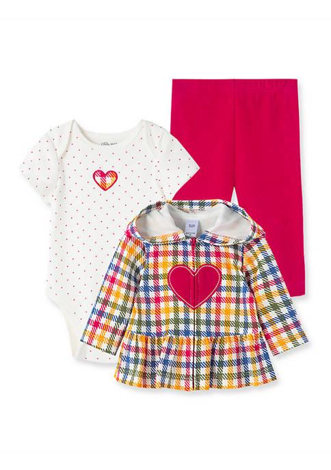 Little Me Baby Girls Heart 3-Piece Hoodie Set