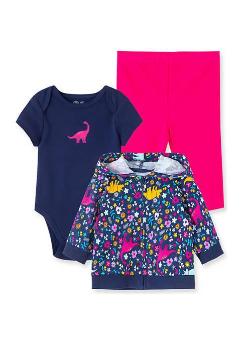 Little Me Baby Girls Dino 3-Piece Hoodie Set