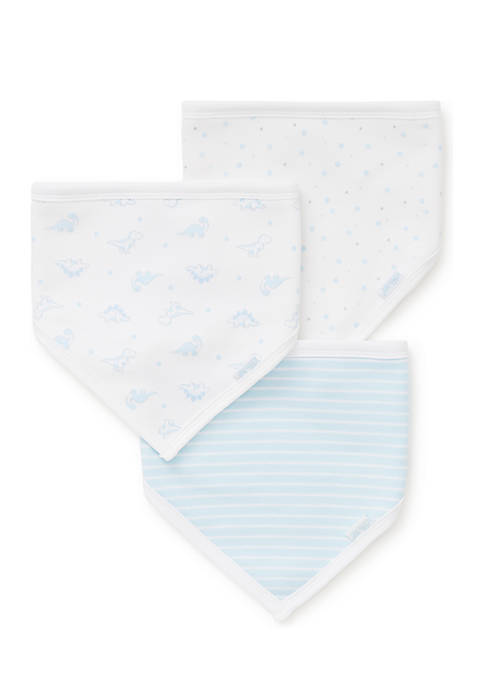 Little Me Dainty Dinos 3-Piece Bandana Bibs Set