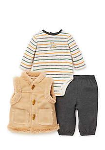 Infant Boys Fox 3-Piece Vest Set