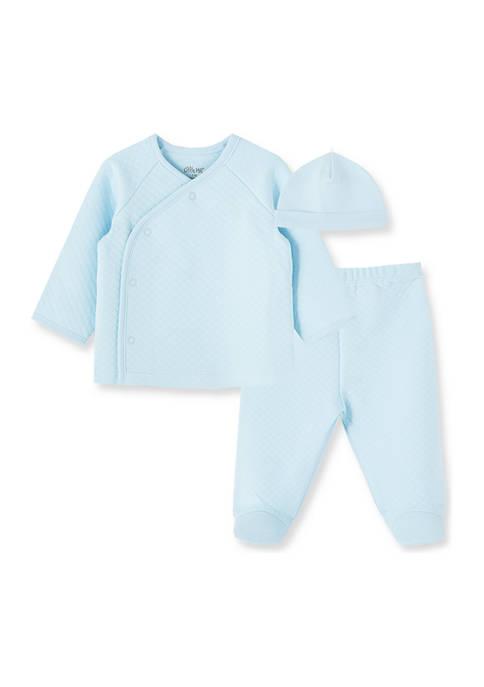 Little Me Baby Boys Blue Quilt 3 Piece