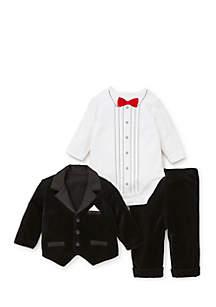 Baby Boys Tuxedo Jacket Hat Set