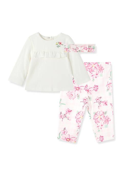 Little Me Baby Girls Garden Pants 3 Piece