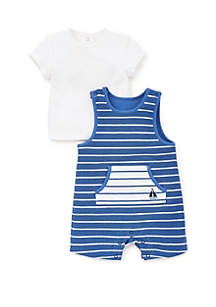 Baby Boys Sail Knit Shortall 2-Piece Set