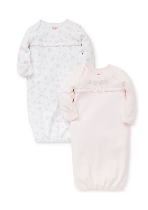 Little Me Girls Newborn Dainty Roses 2-Piece Gown