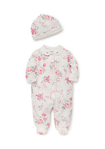 Newborn Girls Bountiful Roses Footie & Hat