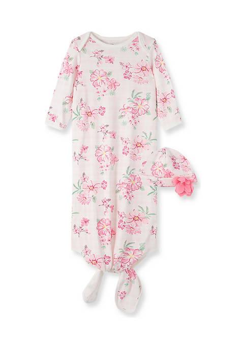 Baby Girls Wildflower Gown with Hat - 2 Piece Set