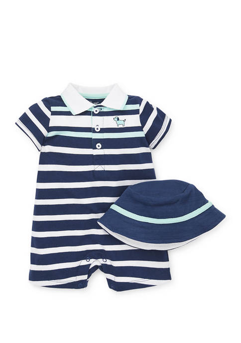 Little Me Baby Boys Puppy Stripe Romper with