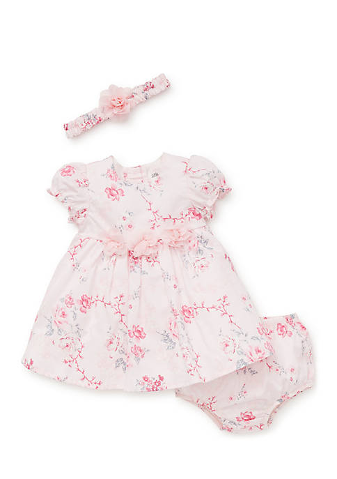 Little Me Newborn Girls Bountiful Roses Dress Set