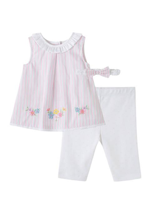 Little Me Baby Girls Border Stripe Tunic Leggings