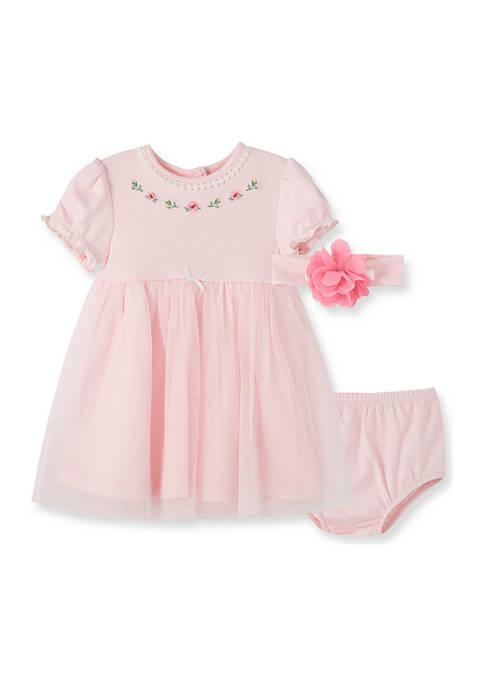 Baby Girls Garden Dress with Bloomers & Headband - 3 Piece Set