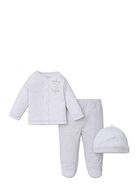 Little Me 3-Piece Cardigan, Pant, and Hat Set