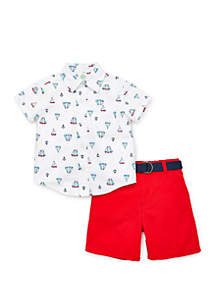 Little Me Baby Boys Woven Sailboat Short Set