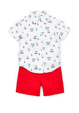 a1e8d2e0b2a ... Little Me Baby Boys Woven Sailboat Short Set