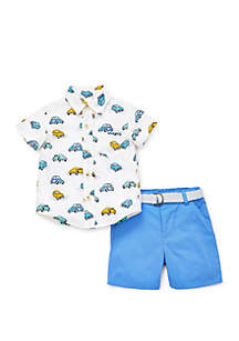 Little Me Baby Boys Cars Woven Short Set