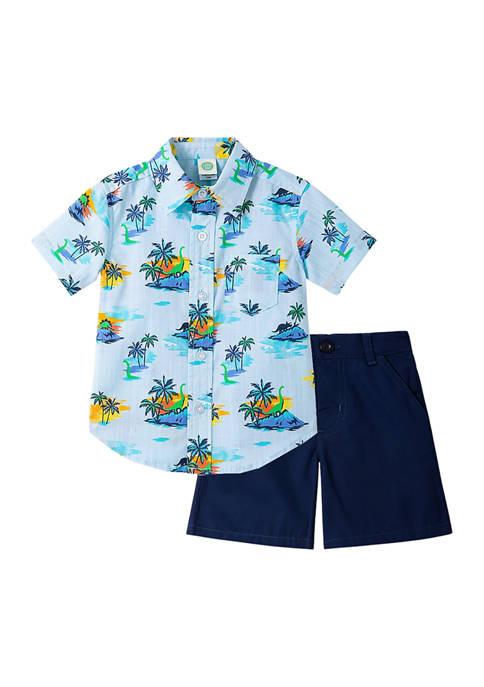 Little Me Baby Boys Tropical Woven Short Set