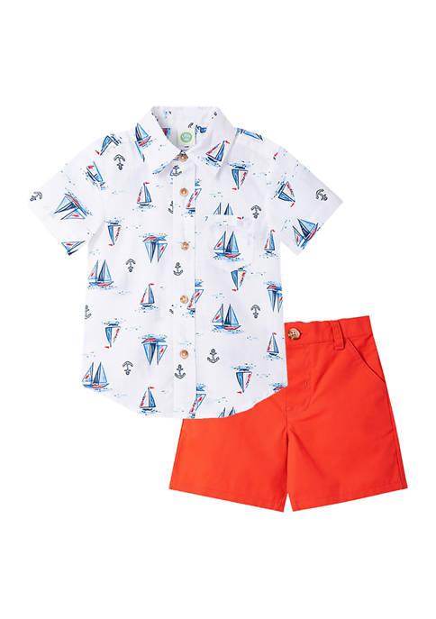 Baby Boys Sailboat Woven Shorts Set