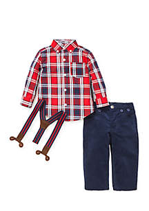 Baby Boys Red Plaid Woven Pant Set
