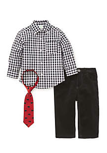 Baby Boys Black Check Woven Pants Set