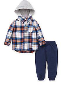 Baby Boys Orange Plaid Flannel Shirt Set