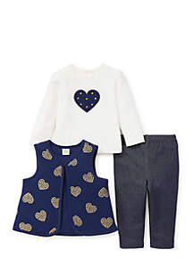 Infant Girls 3-Piece Heart Vest Set