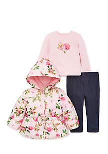Baby Girls 3-Piece Faux Fur Jacket Set