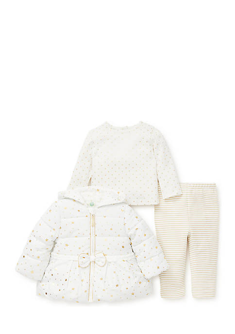 Little Me Infant Girls Gold Star Three-Piece Jacket
