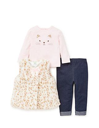 69a704b51b9d6 Little Me. Little Me Baby Girls Ivory Leopard Vest 3-Piece Legging Set