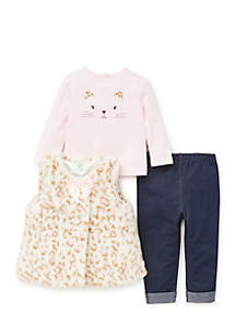 Baby Girls Ivory Leopard Vest 3-Piece Legging Set