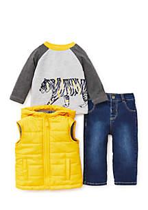 Infant Boys Gold 3-Piece Vest Set