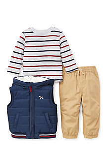 Infant Boys Navy Puff 3-Piece Vest Set