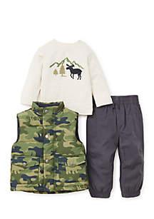 Infant Boys Camo Puff 3-Piece Vest Set