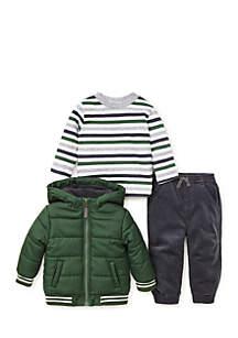 Infant Boys Green 3-Piece Jacket Set