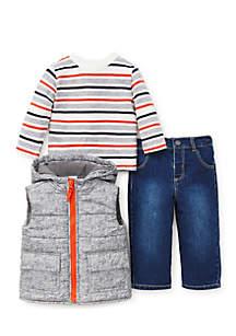 Infant Boys Heather 3-Piece Vest Set