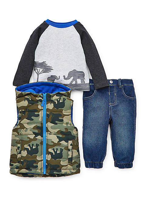 Little Me Baby Boys Camoflage Puff Vest Pants