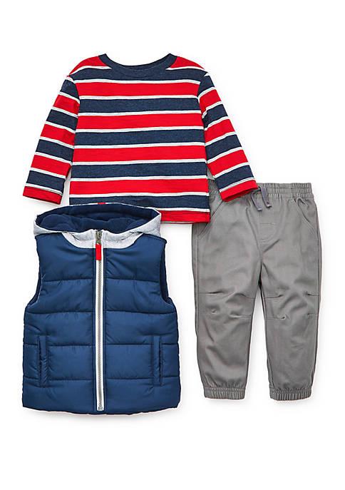 Little Me Baby Boys Navy Puff Vest Pants