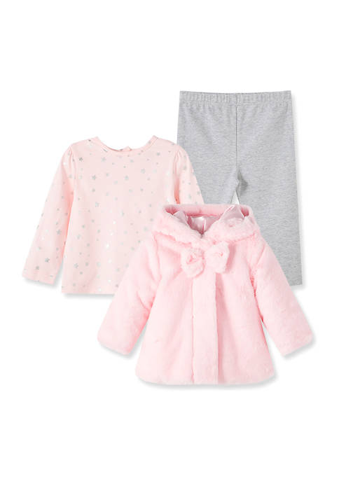 Little Me Baby Girls Pink Fur Jacket Set