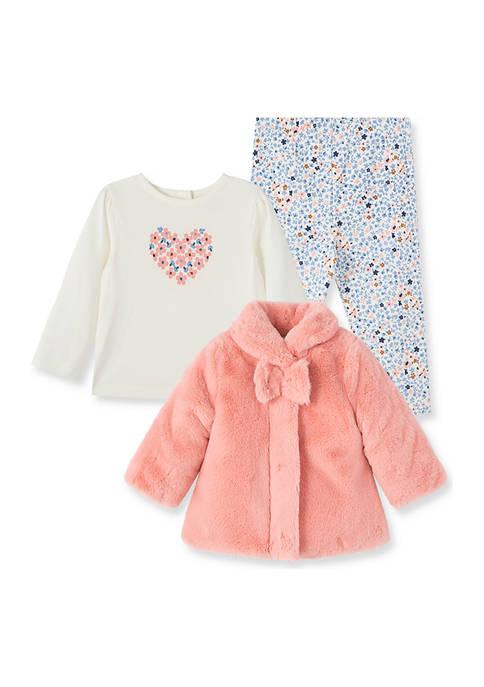 Little Me Baby Girls Pink Floral Jacket Set