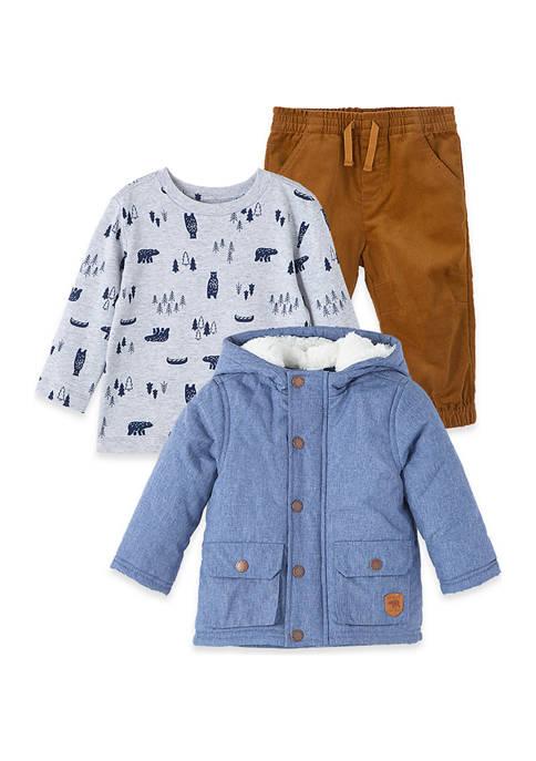 Little Me Baby Boys Chambray Jacket Set
