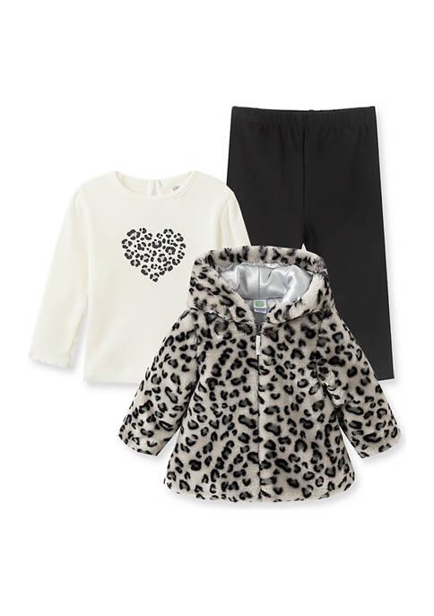 Little Me Baby Girls Gray Leopard Jacket Set