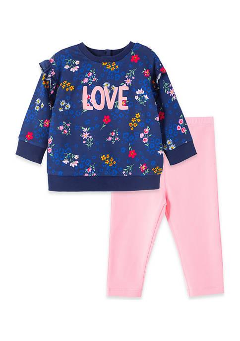 Baby Girls Floral 2 Piece Sweatshirt Set