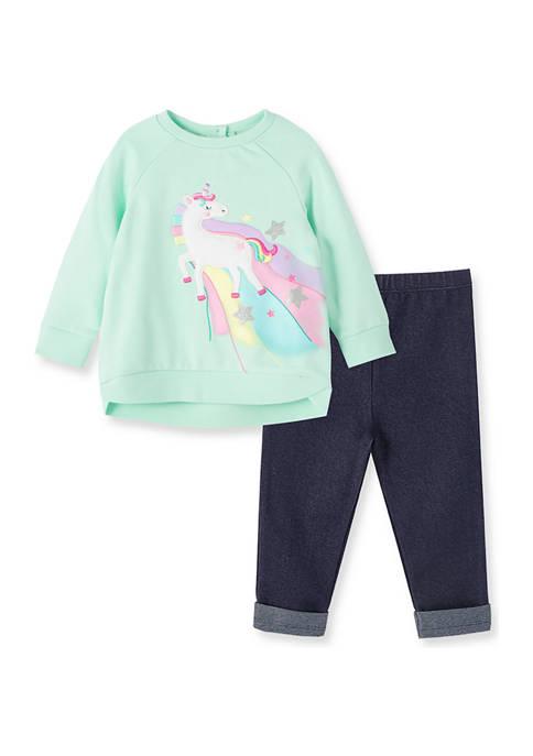 Baby Girls Unicorn 2 Piece Sweatshirt Set