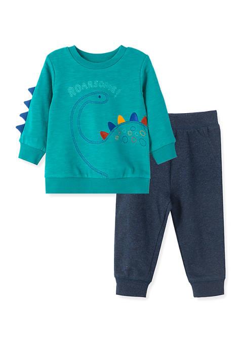 Little Me Baby Boys Dino 2-Piece Sweatshirt Set