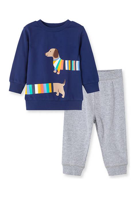 Little Me Baby Boys Puppy 2 Piece Sweatshirt