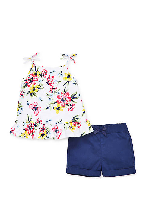 Little Me Baby Girls Tropical Floral Woven Short