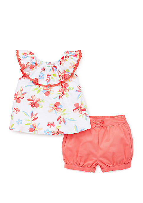 Baby Girls Coral Floral Woven Short Set